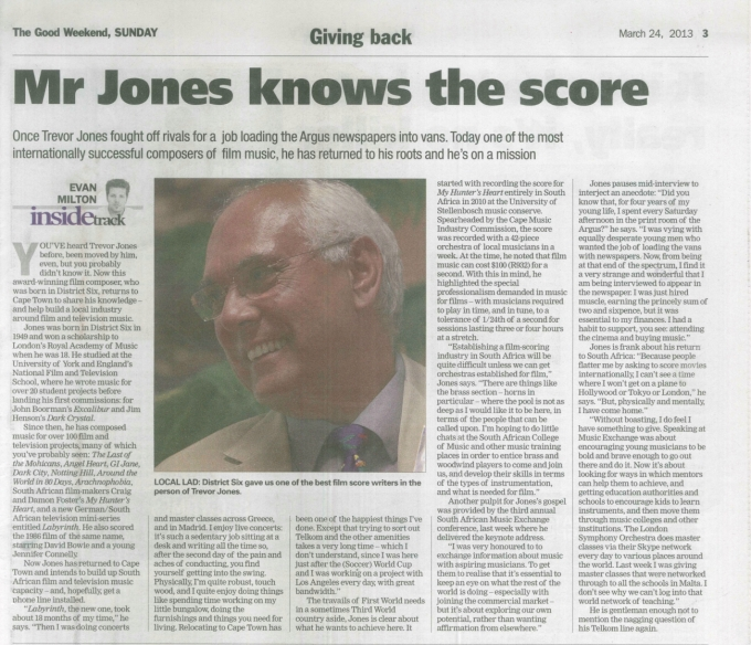Weekend Argus 24 March - Mr Jones knows the score